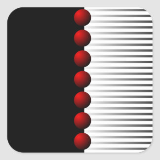 Red Black White and Gray Abstract Square Sticker