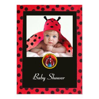 RED BLACK WHITE BABY BUG Monogram Photo Template Card