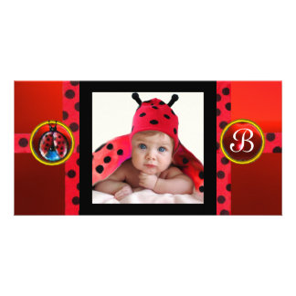 RED BLACK WHITE BABY BUG MONOGRAM PHOTO TEMPLATE PHOTO CARD