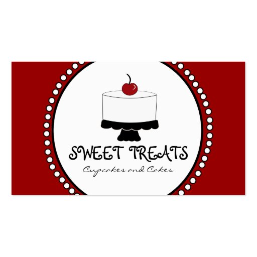 Red Black White Bakery Business Cards
