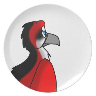 Red/Black/White Bird Hybrid Dinner Plate