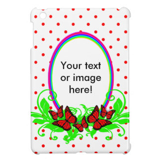 Red Black White Butterflies Rainbows And Dots Case For The iPad Mini