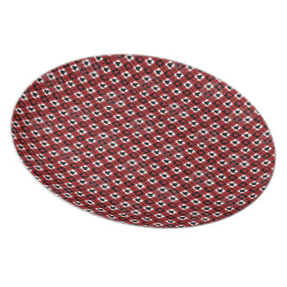 Red, Black & White Card Suits Pattern Party Plates