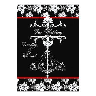 Red,  Black, White Chandelier Wedding Invitation