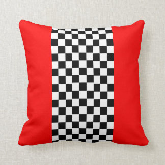 Red Black White Checkers Pillow