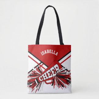 Red, Black & White Cheerleader Design Tote Bag