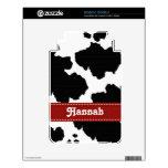 Red Black White Cow Print Kindle 3 Skin