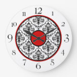"Red Black & White Damask Elegant 10.75"" Clock"