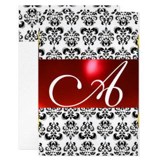 RED BLACK WHITE DAMASK GEM MONOGRAM rsvp silver Card