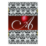 RED BLACK WHITE DAMASK GEM MONOGRAM rsvp silver Personalized Announcement
