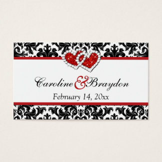 Red Black White Damask Joined Hearts Favor Tag