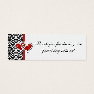Red Black White Damask Joined Hearts Favor Tag 2