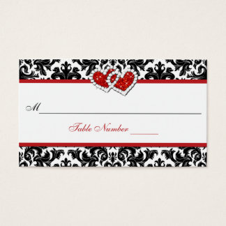 Red Black White Damask Joined Hearts Place Card