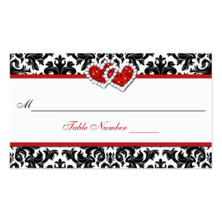 Red Black White Damask Joined Hearts Place Card Double-Sided Standard Business Cards (Pack Of 100)