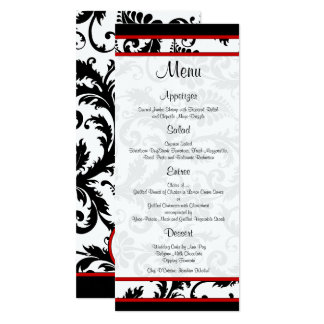 Red Black White Damask Monogram Menu Card