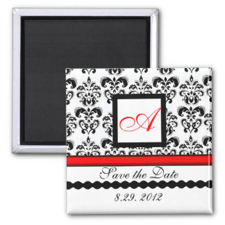 RED BLACK WHITE DAMASK MONOGRAM,Save The Date Fridge Magnets