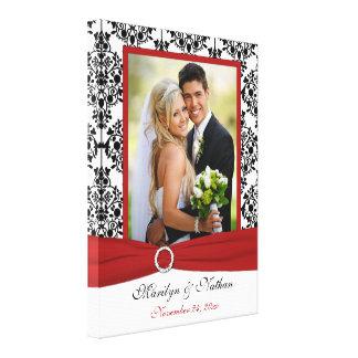 Red, Black, White Damask Wedding Canvas