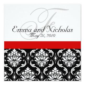 Red Black White Damask Wedding Invitation