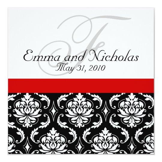 Red Black White Damask Wedding Invitation Zazzlecom