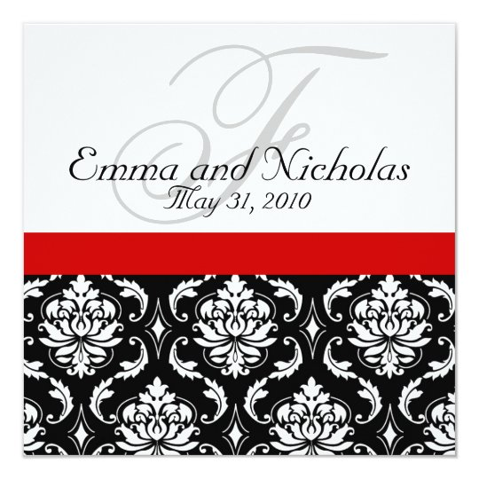 Good Red Black White Damask Wedding Invitation