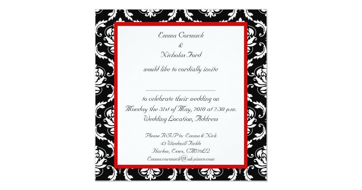 red black white damask wedding invitation zazzle