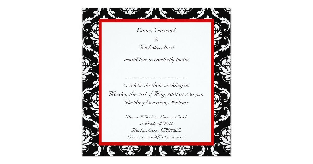 Red And Black Wedding Invitations Templates: Red Black White Damask Wedding Invitation