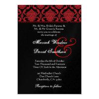Red Black White Damask Wedding Metallic Template