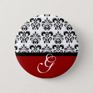 RED BLACK WHITE DAMASK WEDDING MONOGRAM BUTTON