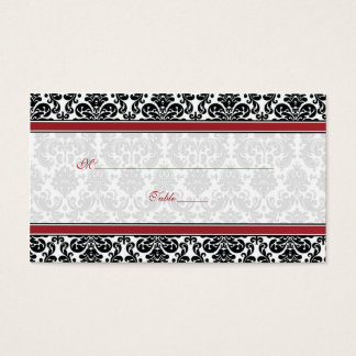 Red, Black, White Damask Wedding Place Cards