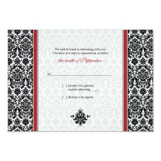 Red, Black, White Damask Wedding Reply Card