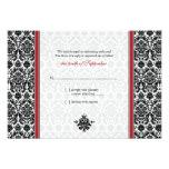 Red, Black, White Damask Wedding Reply Card Invite