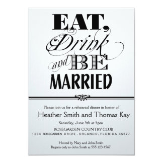Red-Black-White Eat Drink Married Rehearsal Dinner Announcements