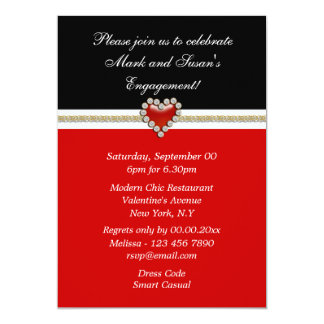 Red black white engagement PERSONALIZE Card