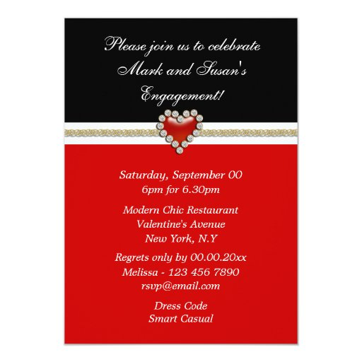Red black white engagement PERSONALIZE Custom Invitations