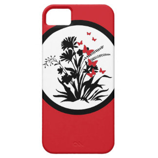 Red black white floral butterfly iphone 5 case