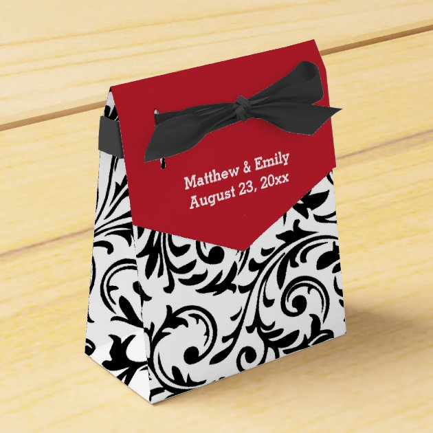 Floral Black /& Red Damask Personalized Party Thank You Cards