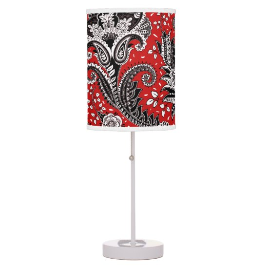 Red Black & White Floral Paisley Bohemian Boho Desk Lamp