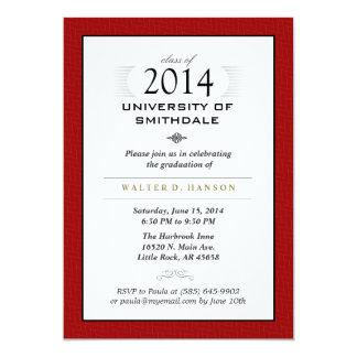 Red Black & White Formal Graduation Party Invite
