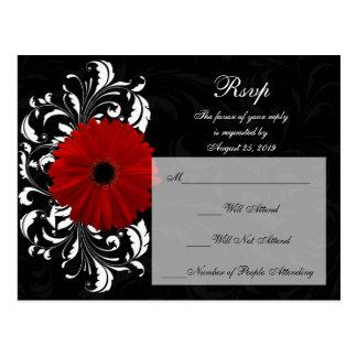 Red+Black+White Gerbera Daisy RSVP Reply Postcard