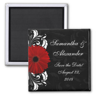 Red+Black+White Gerbera Daisy Save the Date /Favor 2 Inch Square Magnet