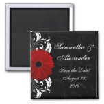 Red+Black+White Gerbera Daisy Save the Date /Favor Fridge Magnet