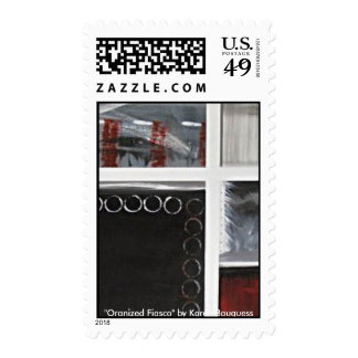 Red, Black, White, Gray Abstract Art U.S. Stamp