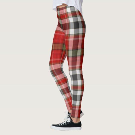 c174ccc9ab831 Red Black White Green Giant Tartan Plaid Leggings | Zazzle.com