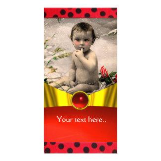 RED BLACK WHITE LADYBUG BABY SHOWER PHOTO TEMPLATE PHOTO CARD