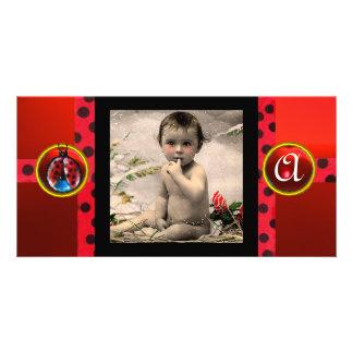 RED BLACK WHITE LADYBUG MONOGRAM PHOTO TEMPLATE