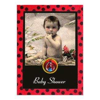 RED BLACK WHITE LADYBUG Monogram Photo Template Card