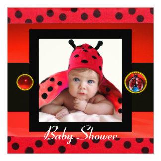 RED BLACK WHITE LADYBUG Monogram Photo Template Personalized Invites