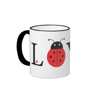 Red, Black & White 'Love' Ladybugs Mug
