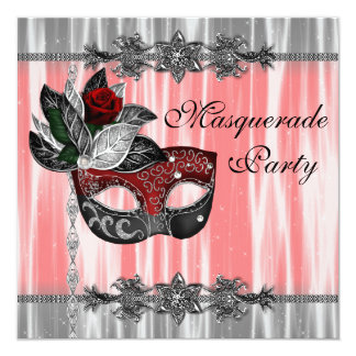 Red Black White Masquerade Party Card