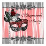 """Red Black White Masquerade Party 5.25"""" Square Invitation Card"""